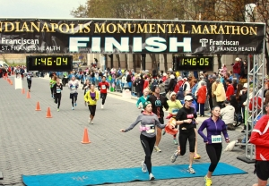 Me and Carol crossing the finish line of the Monumental Half